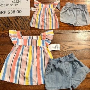 NWT Carter's Baby Girl Flutter Sleeve Top & shorts